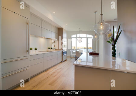 Open kitchen island with white acrylic doors and white counter top - Stock Photo