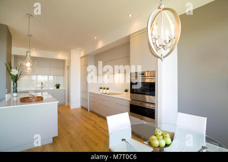 Wide and open kitchen with white doors and wooden floor - Stock Photo