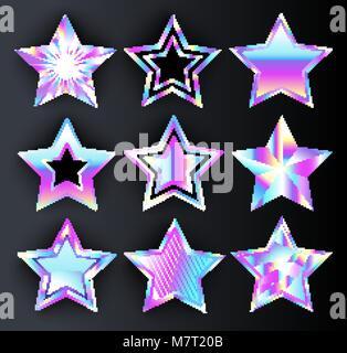 Set of holographic, bright, isolated, iridescent stars on black background. Holographic stars - Stock Photo