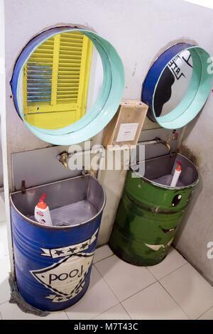 SAIGON, VIETNAM, DEC 15 2017, Two basin with mirror in empty public toilet. Washroom at Ben Thanh street food market. - Stock Photo