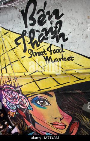 SAIGON, VIETNAM, DEC 15 2017, Painting on wall at Ben Thanh street food market. - Stock Photo