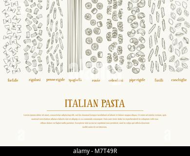Vector banner with different types of traditional Italian pasta. Hand drawn vector background. Can be use for menu - Stock Photo
