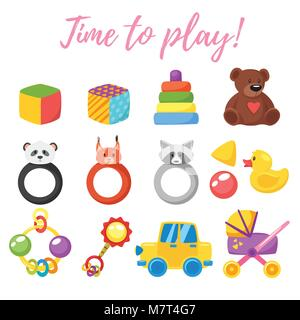 Vector cartoon style illustration of baby set of toys for boy and girl. Newborn design elements and icons. Isolated - Stock Photo