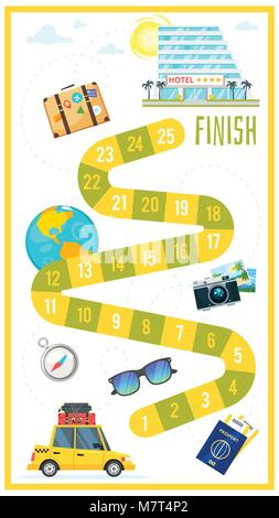Vector cartoon style illustration of kids travel and tourism board game template. For print. Vertical composition - Stock Photo