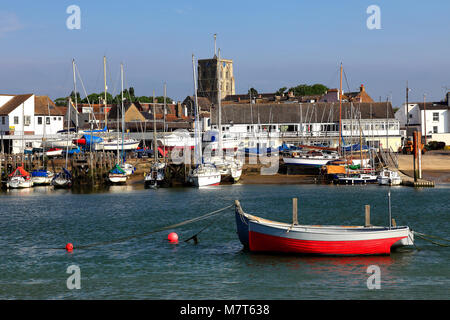 The tidal river Adur, church of St Mary de Haura, Shoreham-By-Sea, Sussex, England, UK - Stock Photo