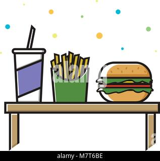 Fast food menu. Cola, hamburger and French fries. Vector Illustration - Stock Photo