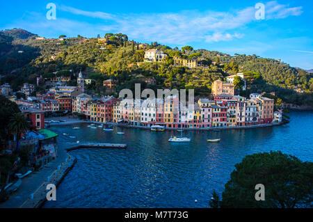 Portofino panorama,luxury harbor and colorful houses,Liguria,Ital y,Europe - Stock Photo