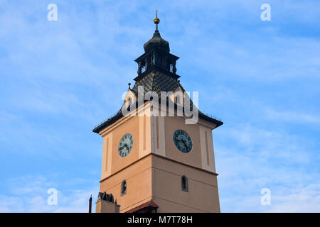 Brasov, Romania. February 4, 2017. Clock Tower of the Brasov County Museum of History - Stock Photo