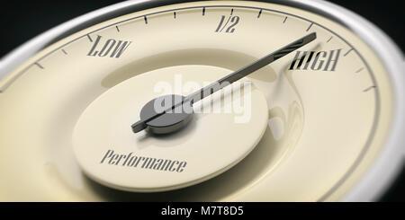 High performance concept. Vintage car gauge speedometer closeup detail, black background. 3d illustration - Stock Photo