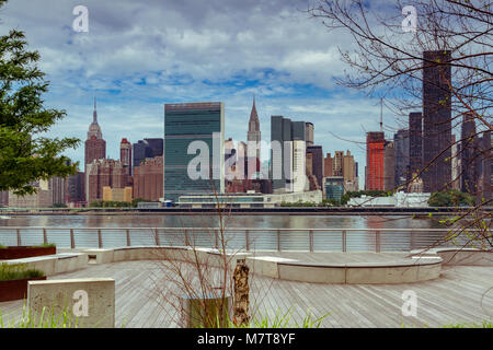 Midtown Manhattan and The United Nations Building from Gantry Plaza State Park in Long Island City ,Queens , New - Stock Photo