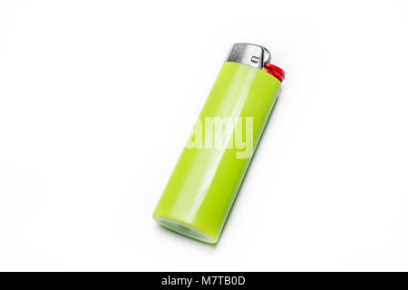 Macro Of A Green Lighter Isolated On White Background - Stock Photo