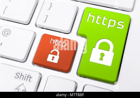 Close Up Of A Keyboard With HTTPS and HTTP Buttons With Lock Icons - Stock Photo