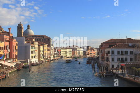 Venice, Italy - January 22, 2018. Grand Canal From Scalzi Bridge (Ponte degli Scalzi) - Stock Photo