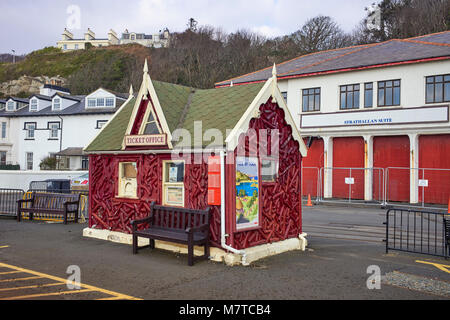 The decorative and distinctive Isle of Man Electric Railway ticket office in Douglas. - Stock Photo