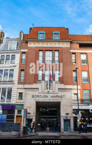 the main entrance to borough market with the union jack or flag above the gateway on borough high street in southwark, - Stock Photo