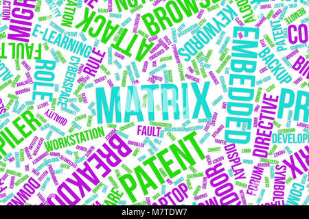 Matrix, IT, information technology conceptual word cloud for for design wallpaper, texture or background - Stock Photo