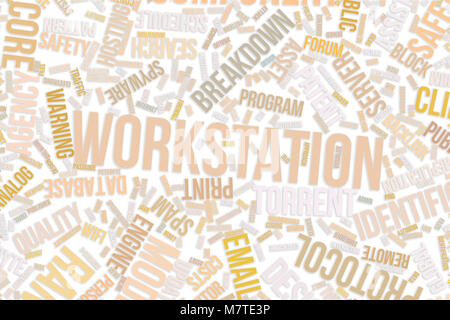 Workstation, IT, information technology conceptual word cloud for for design wallpaper, texture or background - Stock Photo