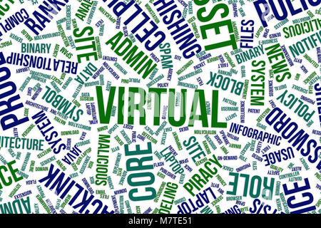 Virtual, IT, information technology conceptual word cloud for for design wallpaper, texture or background - Stock Photo