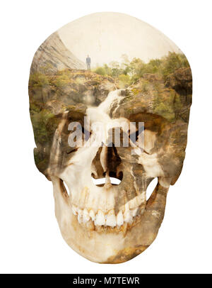 Conceptual photo montage depicting a skull, death, mountain, waterfall and a man on the cliff edge on a white background. - Stock Photo