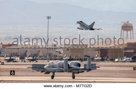 A-10 and Typhoon. Pictured is a Typhoon of 6 Sqn taking off from Nellis AFB during Exercise Red Flag.  In the foreground - Stock Photo