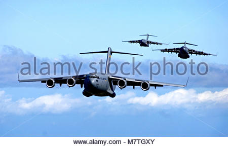 C-17 Globemaster III's. C-17 Globemaster III's from the 535th Airlift Squadron, Hickam Air Force Base, Hawaii participate - Stock Photo