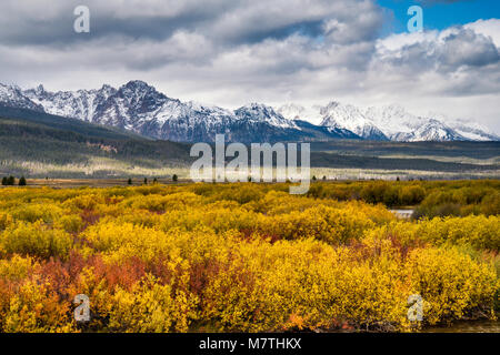 Sawtooth Mountains under snow over Sawtooth Valley in fall foliage, view from Sawtooth Scenic Byway, Sawtooth National - Stock Photo
