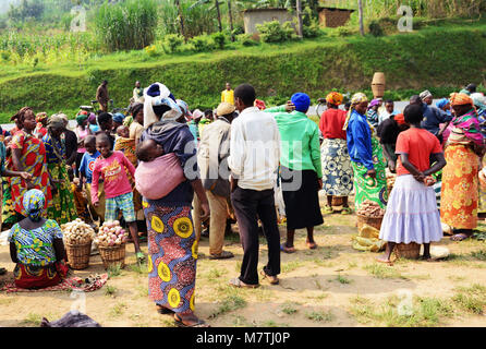 A vibrant market in north west Rwanda. - Stock Photo