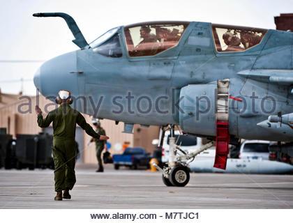 EA-6B Prowler. U.S. Marine Corps Gunnery Sgt. Kyle Smith, 2nd Marine Aircraft Wing, Marine Tactical Electronic Warfare - Stock Photo