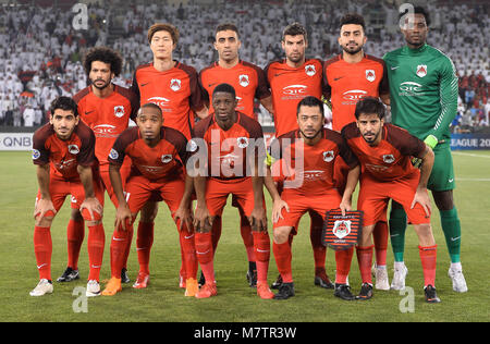 (180313) -- DOHA, March 13, 2018 (Xinhua) -- Al-Rayyan's players line up prior to the AFC Champions League Group - Stock Photo