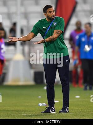 (180313) -- DOHA, March 13, 2018 (Xinhua) -- Al-Hilal's head coach Juan Ignacio Brown reacts during the AFC Champions - Stock Photo