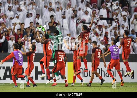 (180313) -- DOHA, March 13, 2018 (Xinhua) -- Al-Rayyan's players celebrate after winning the AFC Champions League - Stock Photo