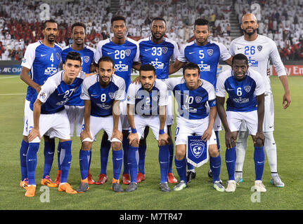 (180313) -- DOHA, March 13, 2018 (Xinhua) -- Al-Hilal's players line up before the AFC Champions League Group D - Stock Photo