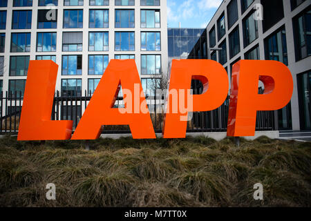 08 March 2018, Germany, Stuttgart-Vaihingen: The lettering of the cable producer Lapp in front of the company's - Stock Photo