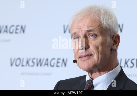 13 March 2018, Berlin: Matthias Mueller, chairman of the board of Volkswagen AG, speaking during the annual statement - Stock Photo