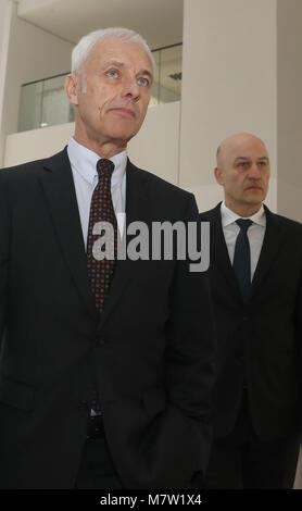 13 March 2018, Berlin: Matthias Mueller (L), chairman of the board of Volkswagen AG, and CFOFrank Witter arriving - Stock Photo