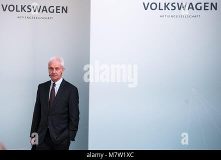 13 March 2018, Berlin: Matthias Mueller, chairman of the board of Volkswagen AG, arriving to the annual statement - Stock Photo
