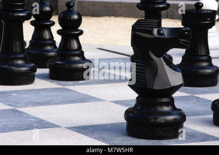 Chess pieces on an outside chess board - Stock Photo