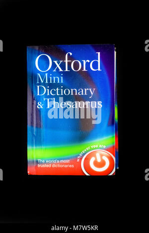 Cover of the fiction book from Oxfod press with the title Oxford mini dictionary & thesaurus - Stock Photo