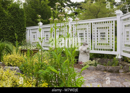 Sculpture next to white fence in landscaped residential backyard garden in summer. - Stock Photo
