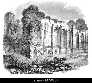 Easby Abbey or the Abbey of St Agatha is a ruined Premonstratensian abbey on the eastern bank of the River Swale - Stock Photo