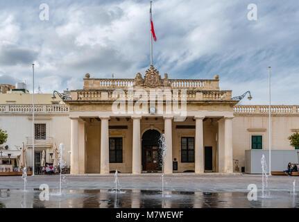 The Main façade of the Grandmaster's Palace in St. George's Square, in Valletta, Malta. - Stock Photo