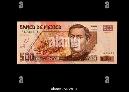 Mexico.  Five Hundred Pesos Banknote, shows Ignacio Zaragoza, Mexican general who defeated French in Battle of Puebla, - Stock Photo