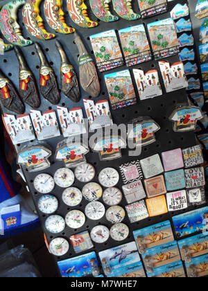 A collection of fridge magnets in a tourist shop taken in Fuengirola, Spain - Stock Photo