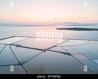 Aerial view of Saline dello Stagnone at sunset, Marsala, province of Trapani, Sicily, Italy - Stock Photo