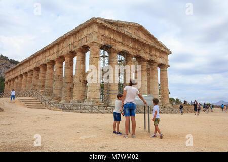 Temple of Segesta, Calatafimi, province of Trapani, Sicily, Italy - Stock Photo