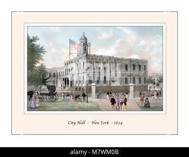City Hall New York Original Design based on a 19th century Engraving - Stock Photo