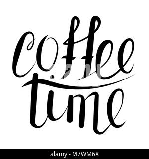 Calligraphy coffee time. - Stock Photo