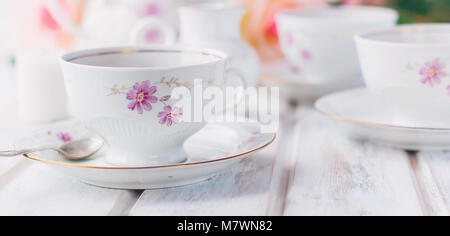 ... two teacups teapot and milk jug festive tableware tea service with floral pattern.  sc 1 st  Alamy & two teacups teapot and milk jug festive tableware tea service with ...