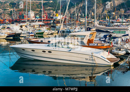 SALERNO, ITALY - June 27, 2017: View of the yacht port of Salerno from the sea in Salerno, Italy. - Stock Photo