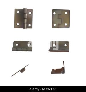 Hinge for doors vector illustration. Set of brass or bronze industrial ironmongery. Mechanism for retro style furniture. - Stock Photo